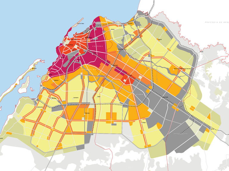 Digital map of Luanda City, Angola using GIS land-use model developed by Broadway Malyan.