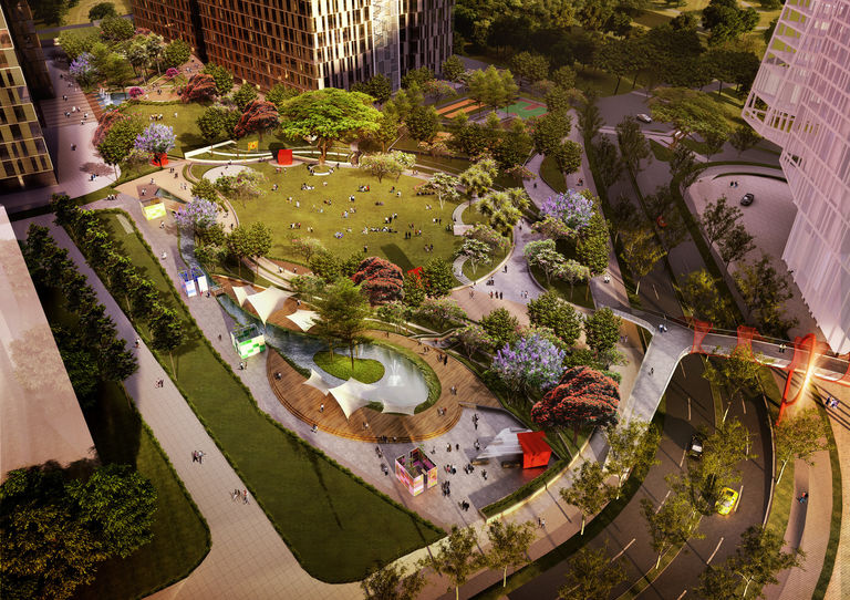Community spaces at the proposed Bhartiya City in Bangalore, India
