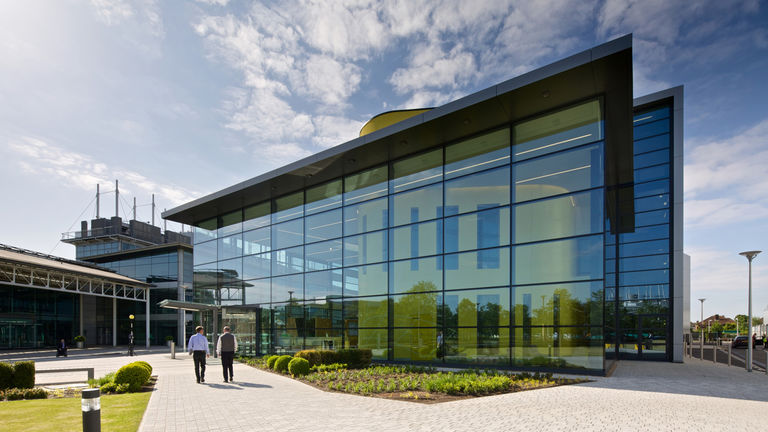 The educational building, part of the overall campus for BP International Centre for Business and Technology in Sunbury, design and masterplan by Broadway Malyan.