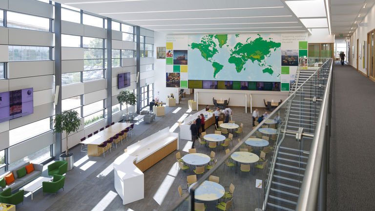 Internal learning spaces and atrium at BP's Upstream Learning Centre, part of their Sunbury campus.