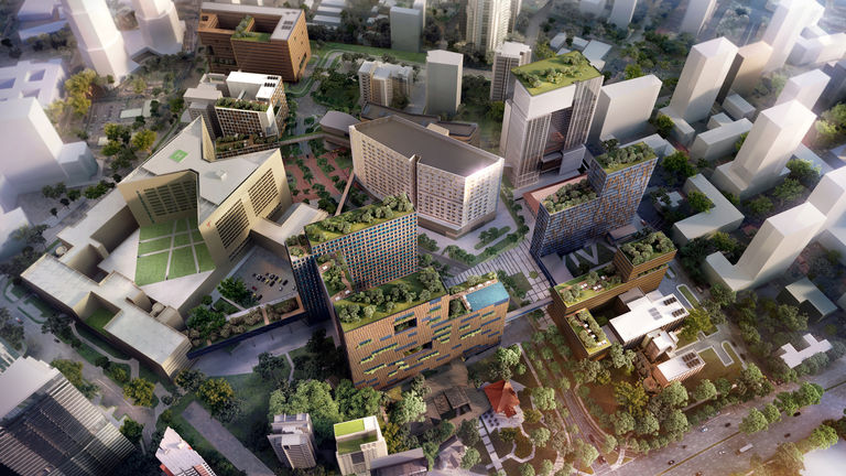 Bird's eye view of Health City Novena in Singapore, designed around a cluster concept