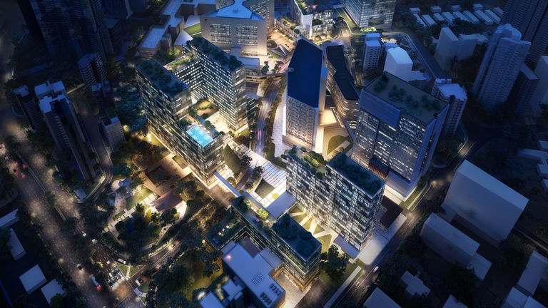 Night aerial view of Health City Novena, an integrated healthcare mega-hub in Singapore