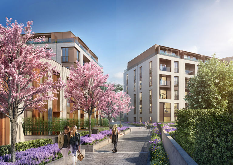 Visualisation of new Millbrook Park residential development in London