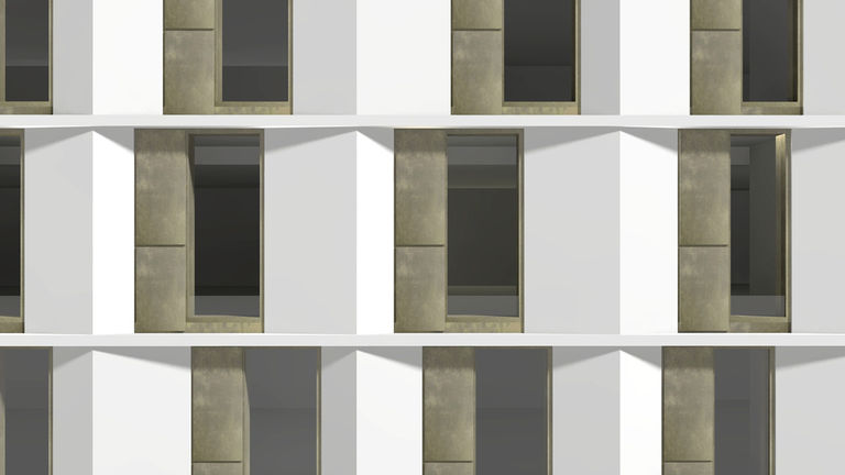 Close up of the new facade design for the former Birds Eye HQ, Walton Upon Thames