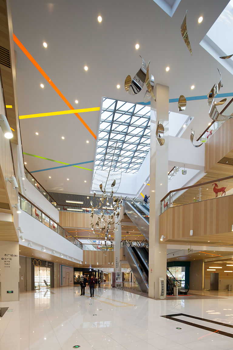 Photo of ceiling glazing and interior finishes at SunArt Plaza retail and leisure centre in Ningbo, China.