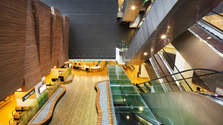 Interior shot of the National heart Centre, Singapore, inspired by medicinal courtyard gardens
