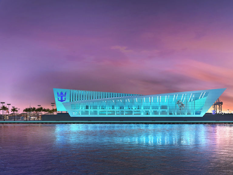 Evening exterior of Miami Cruise Terminal, designed by Broadway Malyan for Royal Caribbean Cruises Ltd.