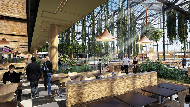 Interior visualisation of tree house and winter garden features at Parklake Plaza in Bucharest, Romania.