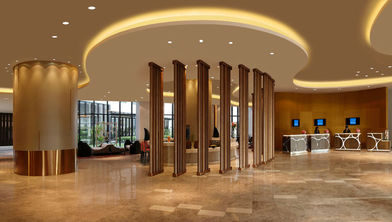 The main lobby in the Novotel New Delhi, designed by Broadway Malyan