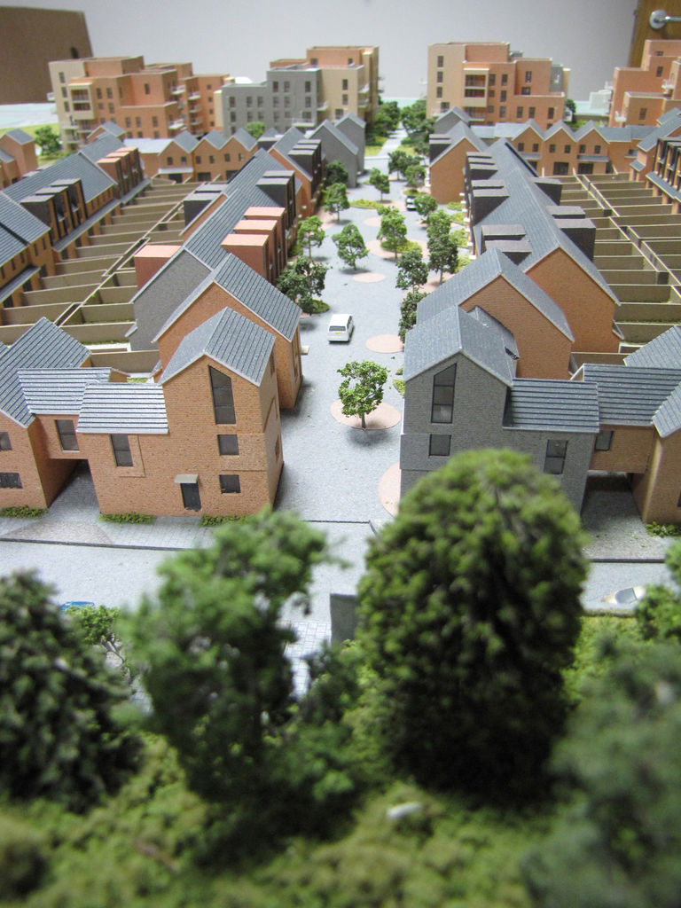 Model of regeneration project Erith Park, showing mix of apartment buildings, terrace housing and private gardens.