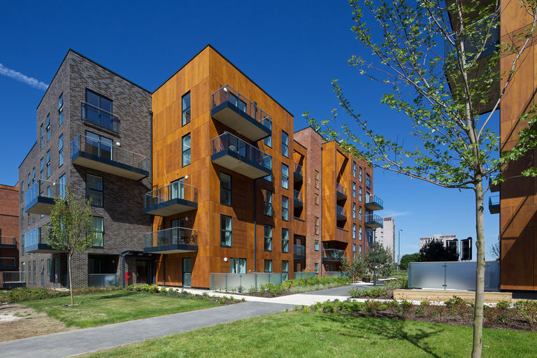 Five storey apartment building at redeveloped residential community Erith Park in London.