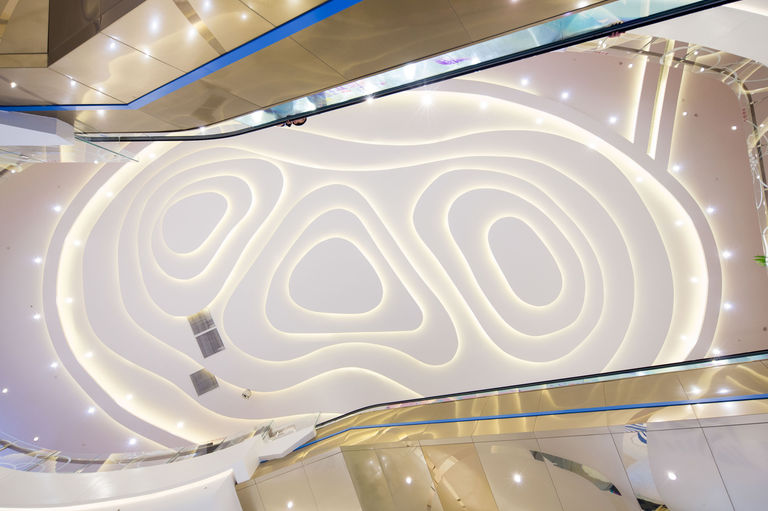 Ceiling lighting at retail destination ID Mall, inspired by the contours of the land around Hefei, China.