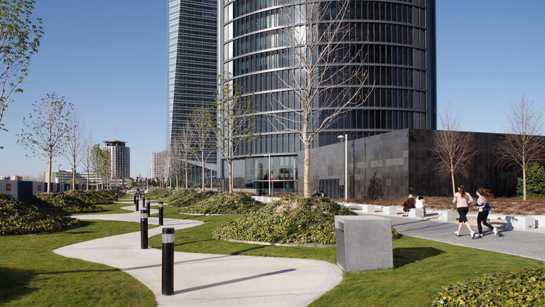 Varied and inspiring urban spaces at Las Cuatro Torres plaza, Madrid
