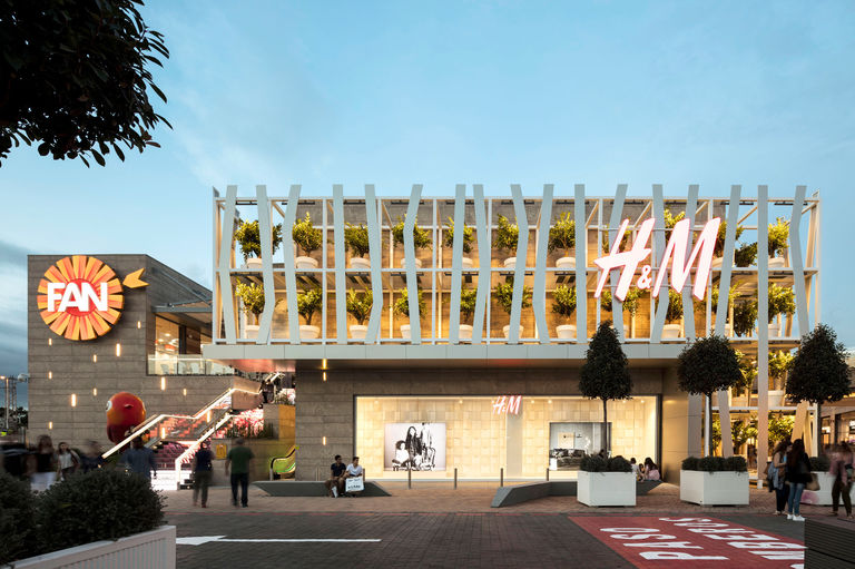 Exterior façade of large retail unit at Fan Mallorca in Spain, part of a major extension project by Broadway Malyan.