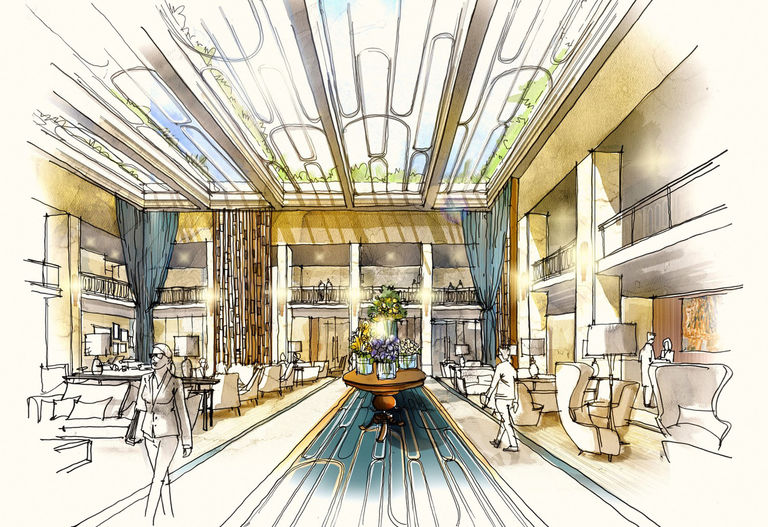 Sketch of redesigned hotel lobby at Tivoli Avenida Liberdade in Lisbon.