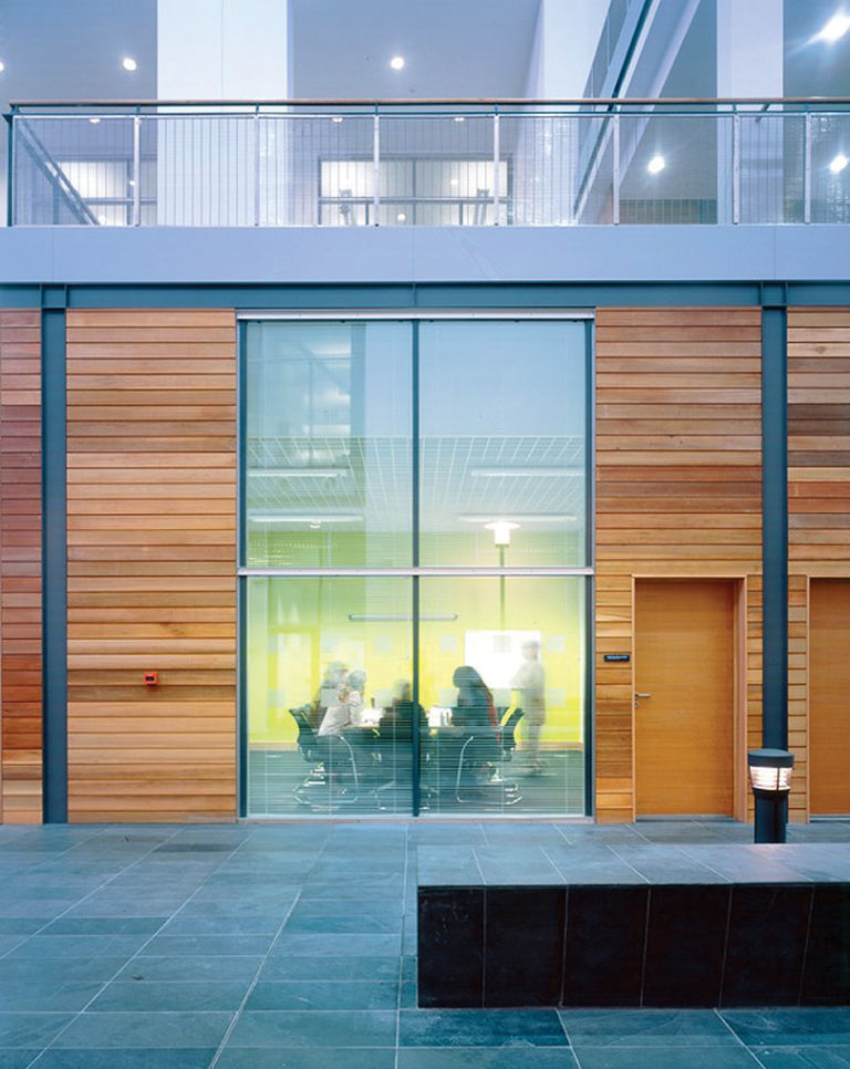 Timber paneling inside the Met Office in Exeter, designed by Broadway Malyan