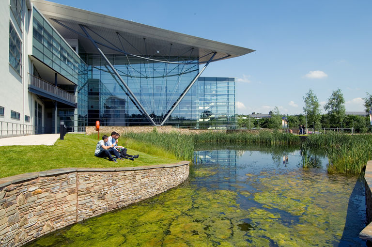 The landscaped parkland at the Met Office in Exeter, designed by Broadway Malyan