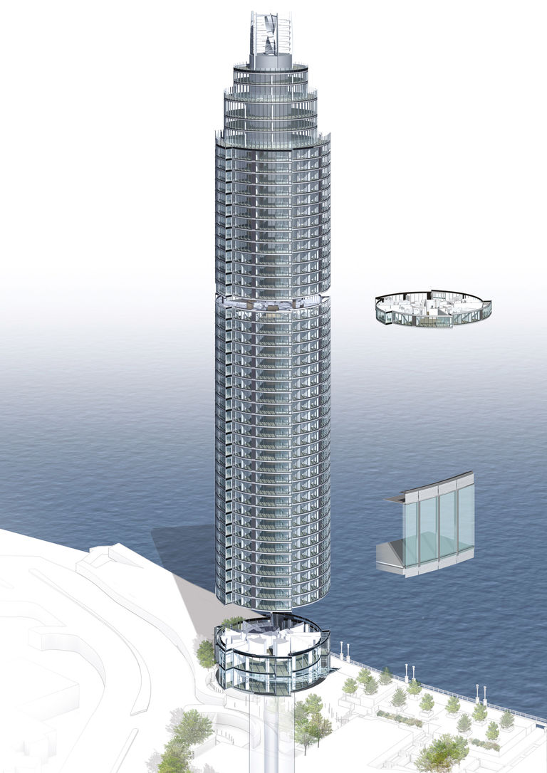 Energy efficiency image of The Tower, One St George Wharf, presenting use of ventilated cavity facade and energy generating wind turbine.