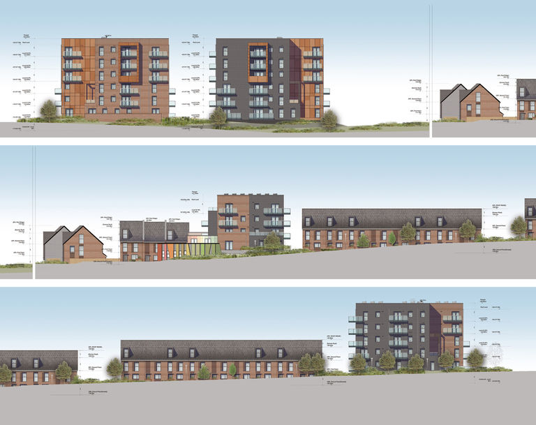 Elevations of Erith Park in London, showing mix of apartments, terrace housing, community building and nursery.