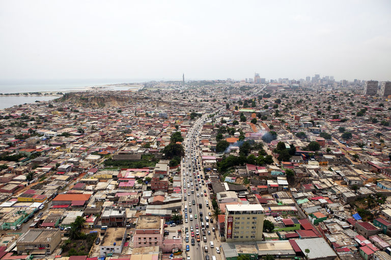 Aerial photo of Luanda City, Angola's largest city.