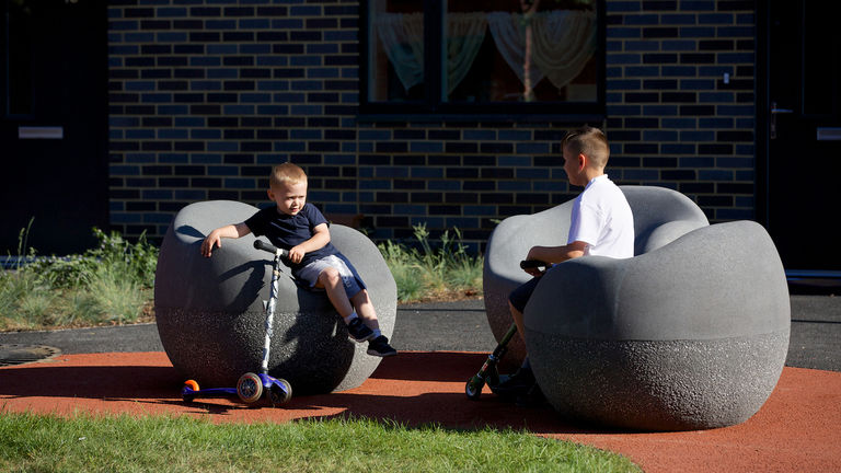 Public space and play areas in action at regeneration project, Erith Park, London Borough of Bexley.