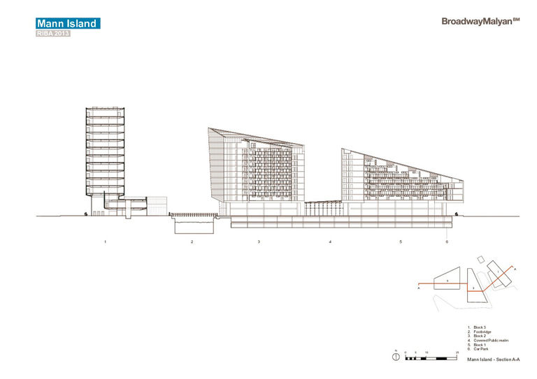 Cross section of Mann Island mixed-use development in Liverpool