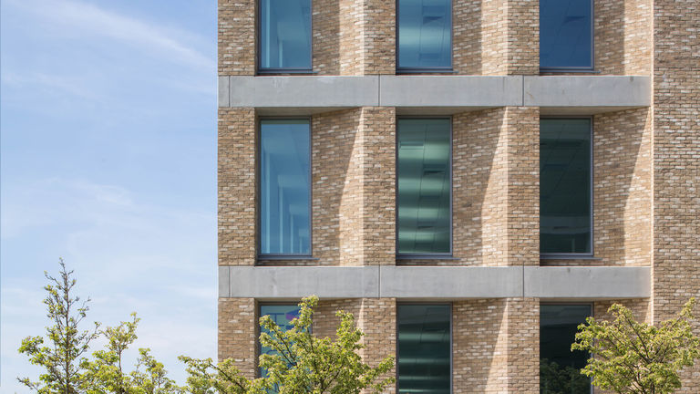 The recessed window facade of Victoria House in Milton Keynes, designed by Broadway Malyan