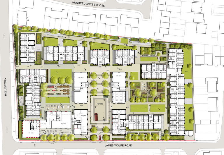 Plan showing new 885 bed student village for Oxford Brookes University