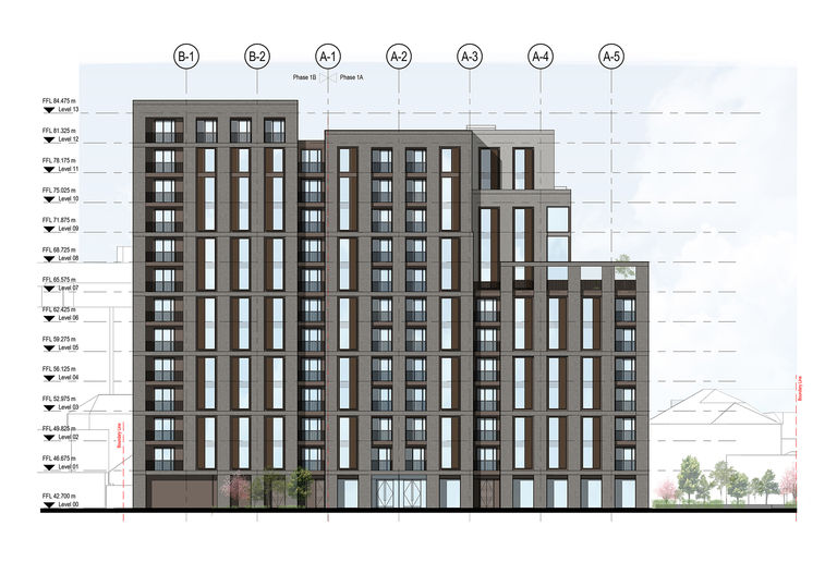 Elevation of St Dunstan's residential development in Woking