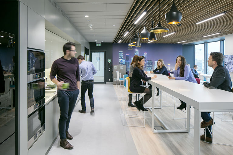 Shared food and drink area at the Citi Service Center Poland (CSC Poland), which was fitted out by Broadway Malyan