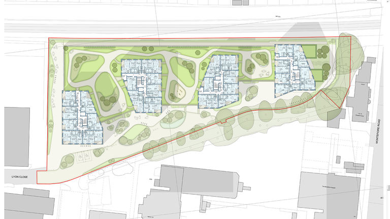 A coloured floorplan of Lyon Close, a residential development designed by Broadway Malyan in Hove