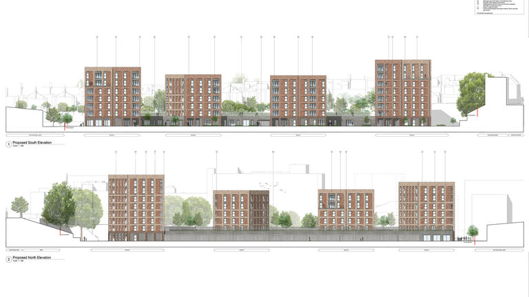 An elevation of Lyon Close, a residential development designed by Broadway Malyan in Hove