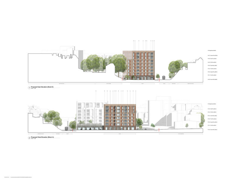 An elevation of the end blocks of Lyon Close, a residential development designed by Broadway Malyan in Hove