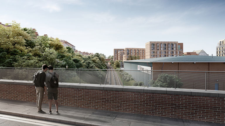 The view towards Lyon Close, a residential development designed by Broadway Malyan in Hove