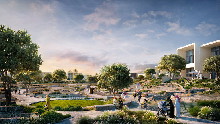 Visualisation of low density villas at one with nature on Jubail Island, masterplanned by Broadway Malyan