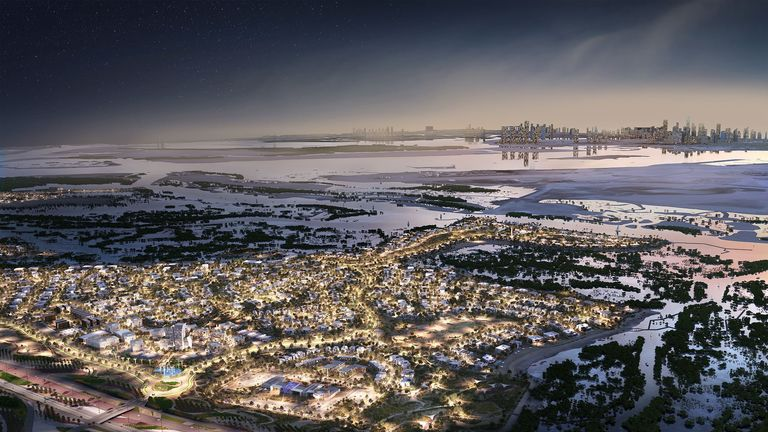 View of Jubail Island with Abu Dhabi downtown in the distance