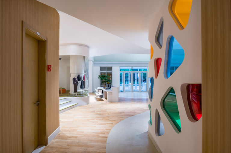 Coloured glass and patterns used throughout Academy of ASTEM in Shanghai, China.
