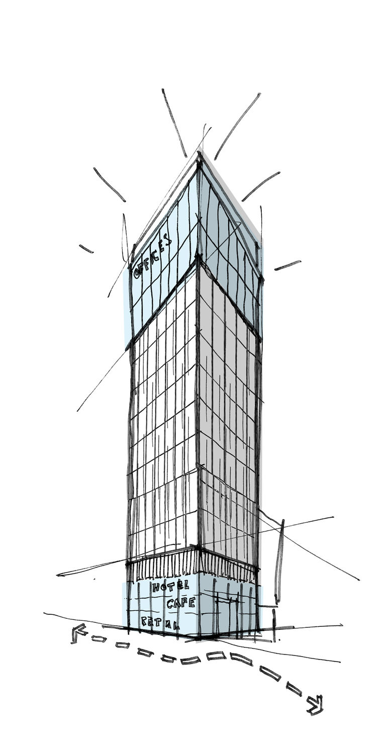A sketch of No1 Reading, a new mixed use tower designed by Broadway Malyan